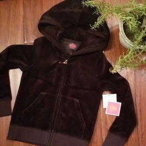 NWT Girls sz 4 Juicy Couture Velour Zip Up Jacket